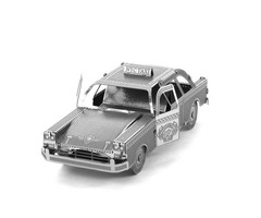 Aipin DIY 3D Puzzle Stainless Steel Model Kit Taxi Silver Color