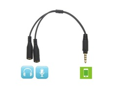 1 Male To 2 Dual Female Earphone Microphone Y Splitter Audio Cable Adapter