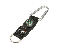 3 in 1 Survival Keychain Ring Camping Buckle Compass Thermometer Multifunctional