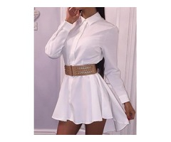 Solid Long Sleeve Dip Hem Shirt Dress