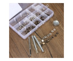 10mm Press Stud Buttons Poppers Leather Craft with Fixings Tools Kit