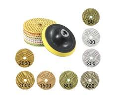 9pcs 4 Inch 50-3000 Grit Diamond Polishing Pads Set with Self-Adhesive Disc Polishing Tool