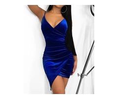 Irregular Wrap Velvet Bodycon Dress