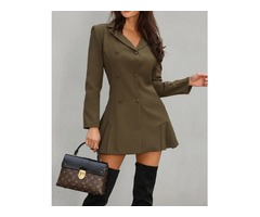 Double Breast Pleated Blazer Dress