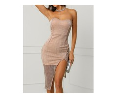 Shiny Strapless Slit Slinky Party Dress