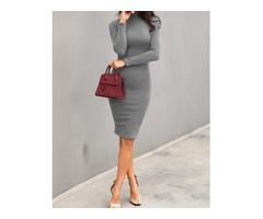 Solid High Neck Long Sleeve Midi Dress | FreeAds.info