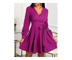 Lantern Sleeve Tie Waist Pleated Mini Dress