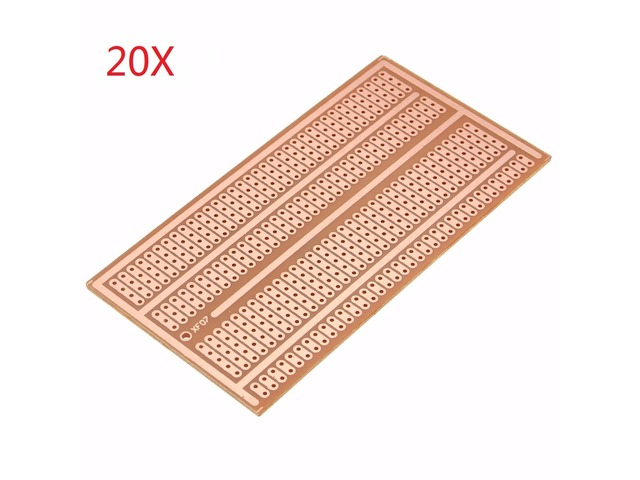 20pcs 5X10cm Single Side Copper Prototype Paper PCB Breadboard 2-3-5 Joint Hole | FreeAds.info