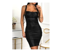 Eyelet Lace-Up Thin Strap PU Party Dress