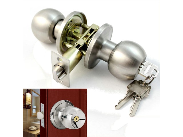 Stainless Steel Bathroom Round Door Knobs Set Handle Entrance Lock With Key   FreeAds.info