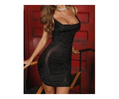 Glitter Drape Neck Bodycon Dress