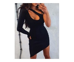 One Shoulder Cut Out Irregular Bodycon Dress