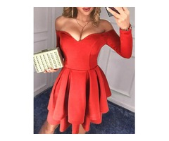 Off Shoulder Layered Ruffles Party Dress