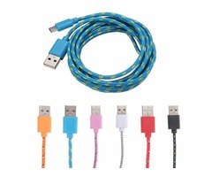 2m Micro USB Data Sync Charger Cable Lead Braided Fabric For Mobile Phone