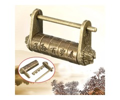 Chinese Retro Vintage Old Style Lock Password Brass Carved Word Padlock
