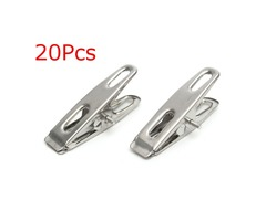 20Pcs Stainless Steel Clothes Pegs Clips for Coat Pants Laundry Drying Hanger Rack