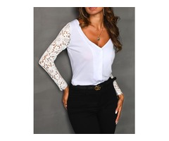Lace Sleeve Insert Casual T-shirt