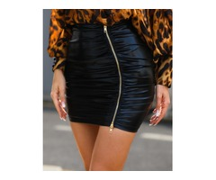 High Waist Ruched Zipper PU Slinky Skirt