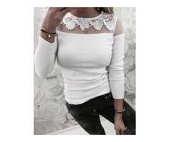 Lace Mesh Insert Casual Blouse