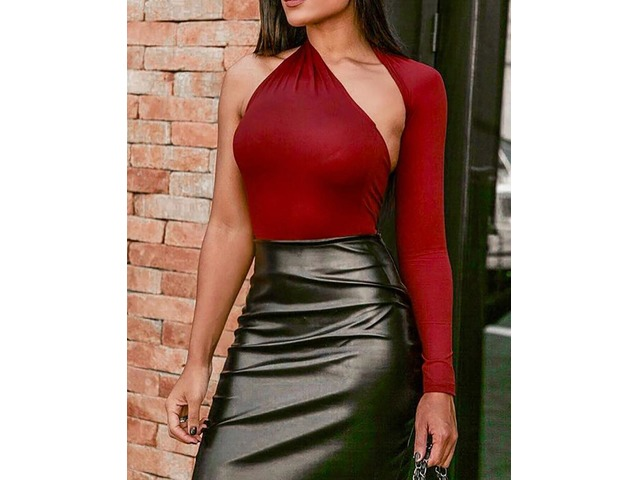 Solid One Shoulder Cutout Bodysuit   FreeAds.info
