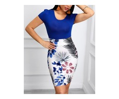 Short Sleeve Tropical Print Bodycon Dress
