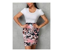 Short Sleeve Floral Print Insert Bodycon Dress