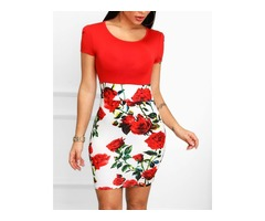 Floral Print Insert Short Sleeve Bodycon Dress