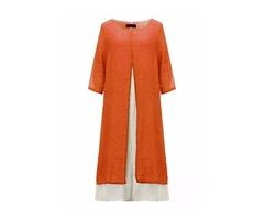 Women Solid Split Fake Two-piece Maxi Dress