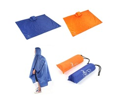 3 In 1 Climbing Hiking Rain Coat Poncho Rain Wear Camping Pad Mat Waterproof Ground Sheet Sunshade