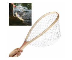 58CM Wooden Handle Fly Fish Fishing Landing Trout Clear Rubber Net Mesh Catch Tackle