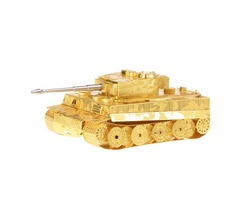 Aipin DIY 3D Puzzle Stainless Steel Model Kit Tiger Tank Brass Color