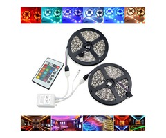 10M SMD2835 Waterproof 600 LED RGB Strip Flexible Tape Light Kit + 24 Keys Remote Controller DC12V
