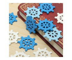 50pcs Wooden Mini Sea Boat Rudder Pendant Scrapbooking Home Decorations Handicraft Accessories