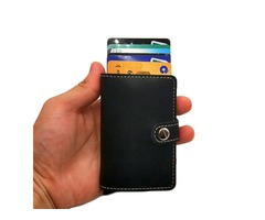 RFID Antimagnetic Aluminum 8 Card Slots Card Holder PU Leather Automatic Pop-Up Card Case
