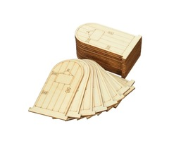 25Pcs Laser Cut Wooden Fairy Doors Unpainted with Plaque DIY Craft