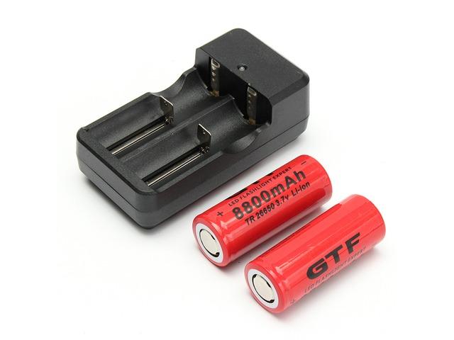 2pcs GTF 26650 3.7V 8800mAh Rechargeable Dual Smart Li-ion Battery Charger   FreeAds.info