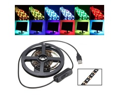 100CM SMD3528 LED Flexible Strip Tape Light USB Switch Lamp PC TV Background Lighting DC5V