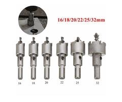 6pcs 16-32mm Steel Carbide Tipped Drill Bit Set Metal Hole Saw Alloy Cutter