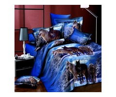 4pcs Suit 3D Snowfield Wolf Reactive Dyeing Polyester Fiber Bedding Sets Queen Size