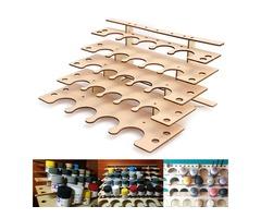 24 Pots Wooden Acrylic Paint Stand Bottle Storage Rack Holder Modular Organizer