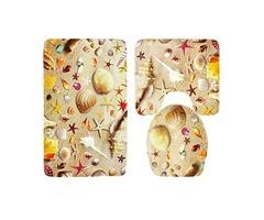 3 Sets Starfish Shell Toilet Carpet Bathroom Non-Slip Pad Toilet Seat Cushion Fabric