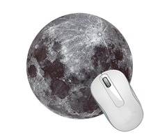 "8"" Diameter Round Moon Surface Cosmic Mouse Pad Mat"