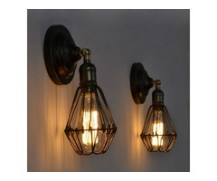 Retro Industrial Vintage Cage E27 Wall Lamp Indoor Bar Ceiling Light