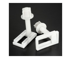 2Pcs 4.4x2.4cm Plastic White Toilet Seat Screws Fitting Repair Hinges