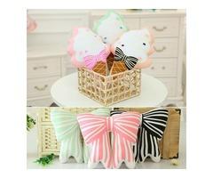 Cute Squishy Ice Cream Bowknot Throw Pillow Cotton Cloth Sofa Car Bed Cushion Home Decor