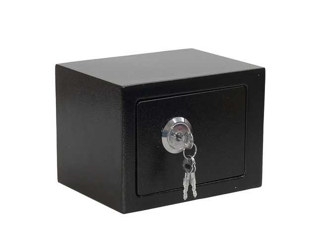 Iron Steel Black Key Operated Safe Box Money Cash Strong Steel for Home Office | FreeAds.info