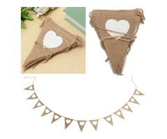 2.8M Heart Triangle Pattern Hessian Burlap Fabric Rustic Wedding Banner Bunting Decoration