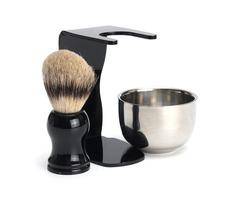 3 in 1 Men's Shaving Kits Badger Hairbrush + Stand + Stainless Steel Bowl Set