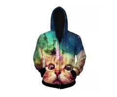 Men Sping Fall Dacron 3D Cartoon Cat Printing Zipper Hoodies Coat Sweatshirt