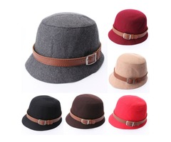 Women Vintage Belt Buckle Cloche Wide Brim Wool Hats Felt Bowler Fedora Hat Bowler Caps